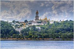 Pechersk Lavra from Dnipro river. Kyiv