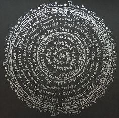 "Gratitude Mandalas  ""Wear gratitude like a cloak and it will feed every corner of your life.""  ~ Rumi"