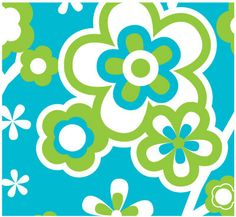 Love this Lime green, Blue and white flower pattern.