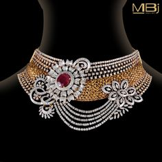 Diamond choker studded with round, baguette shaped diamonds along with Ruby. #MBj #Luxury #Desirable #Modern #JewelleryLove #Choker #Diamond #Ruby