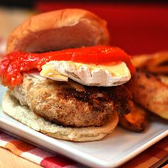 Chicken Burgers with Brie, roasted red peppers & spicy red jam