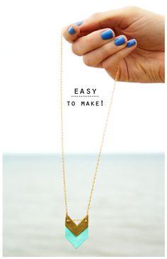 DIY Geometric Necklaces 2. @Breanna Newbill Newbill Newbill Bravo  make me one! :)