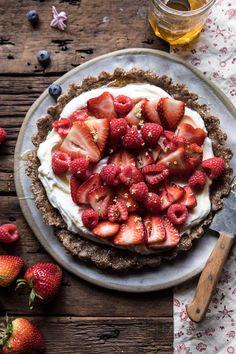 No Bake Greek Yogurt Fruit Tart | halfbakedharvest.com #summer #easyrecipes #healthy #nobake via @hbharvest