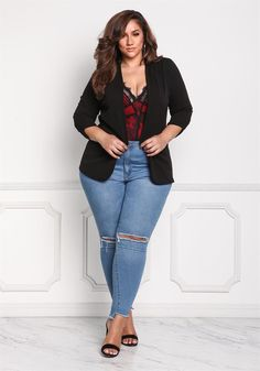Plus Size Clothing | Plus Size Ruched Sleeve Solid Blazer | Debshops