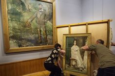 Manet's Portrait of Carolus Duran and Portrait of Mademoiselle Claus as it is installed in the Barber Institute #BehindTheScenes