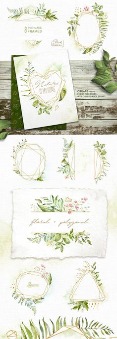 Crystal. Floral & Polygonal Bundle by OctopusArtis on @creativemarket #watercolor #art #ideas #painting #design #botanical #inspiration #flowers #gold #natural