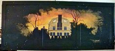 Amityville House painted on wood door. Owned by TM and LM, Los Angeles