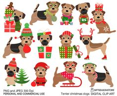 Christmas dog - border terrier and norfolk terrier digital clip art part 8 for Personal and Commercial use - INSTANT DOWNLOAD