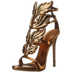 Giuseppe Zanotti Women's Gold Leaf Strappy Dress Sandal ($1,595) ❤ liked on Polyvore featuring shoes, sandals, heels, strap sandals, strappy sandals, gold strap sandals, gold heel shoes and dress sandals
