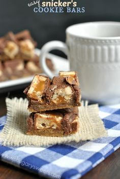 Chocolate Chip Snicker's Bars - easy 4 ingredient cookie bars recipe!