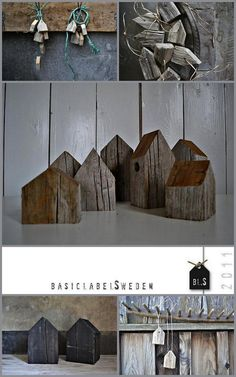 Great idea to take those small rustic houses...and put them into a winter scene in your home for a cool country rustic twist to the traditional Christmas village we usually display at Christmas.