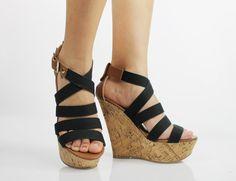 New Spring 2013 Womens Strappy Cork Bottom Platform Fashion Wedge Heel Sandals | eBay