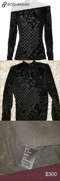 H&M x Balmain long sleeve black dress shirt Shirt has been worn once, in excellent condition Balmain Tops Blouses