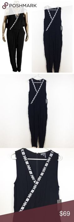 """NWT VINCE CAMUTO BLACK EMBROIDERY JUMPSUIT L Gorgeous Vince CAMUTO """"tropical rain"""" black jumpsuit with gorgeous white embroidery details in size large. Brand new with tags absolutely flawless! All offers welcome! Make an offer! Vince Camuto Pants Jumpsuits & Rompers"""