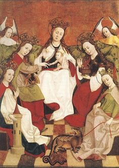 St. Margaret. 'Anonymous rendering from Italy, showing that Margaret got to take her dragon with her when she sat around and did whatever famous virgins do in heaven.'