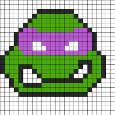 Donatello Perler Bead Pattern / Bead Sprite could make into a quilt! Melty Bead Patterns, Kandi Patterns, Hama Beads Patterns, Beading Patterns, Perler Bead Designs, Beaded Cross Stitch, Cross Stitch Patterns, Modele Pixel Art, 8bit Art