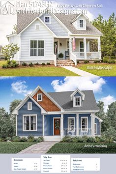 Architectural Designs Cottage House Plan 51743HZ gives you 3 beds and over 2,100 square feet of heated living space. It looks GREAT as built in Mississippi (top picture). Ready when you are. Where do YOU want to build?