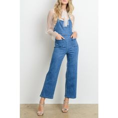 Denim Jumpsuit Featuring Two small pockets on front Zipper at back Halter top tie Additional tie at center Model wearing size Small Denim Jumpsuit, Denim Overalls, Jeans, Blue Denim, Blues, Garage, Rompers, Zipper, How To Wear