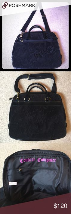"""Authentic PERFECT condition Juicy Computer Bag! 🎩 This is the cutest computer bag ever! 14"""" width. 12"""" height. Velour & patent leather. 100% clean. So adorable! Juicy Couture Bags Laptop Bags"""