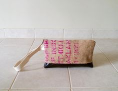 Lina and Vi: Pink + Brown Zipper Burlap Clutch #burlapbag