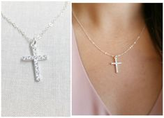 CZ Cross Necklace.  This beautiful necklace features encrusted cz cross hanging along on a dainty chain. The pendant and chain are made of solid sterling silver including clasp closure. Necklace will come with jewelry box, ready for gifting.   ► D E T A I L S  Cross | approx. 20.6 x