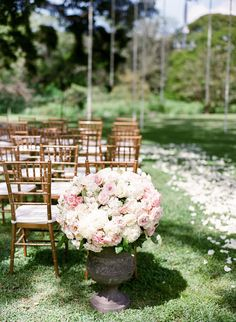 Wedding Ceremony Flowers with an Aisle of Petals by Moana Events