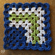 Mitred Granny Square Crochet Tutorial and Dishcloth pattern - free at Oombawka Design.