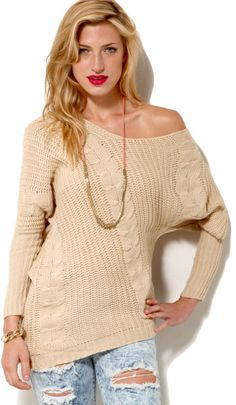 cb8d149dd14 Akira Off Shoulder Cable Knit Sweater in Ivory in White (IVORY)