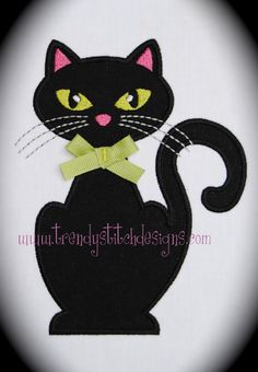 Miss Kitty Applique Design Machine by trendystitchdesigns on Etsy, $3.99
