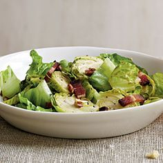 Brussels Sprouts Salad with Warm Bacon Vinaigrette Recipe