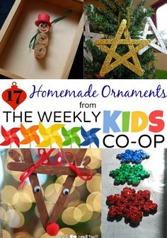 Winter Holidays: 17 Homemade Ornaments from the Kids Weekly Co-Op Link Party Kids Christmas Ornaments, Christmas Activities For Kids, Christmas Projects, Winter Christmas, Handmade Christmas, Christmas Ideas, Ornaments Ideas, Winter Holidays, Merry Christmas