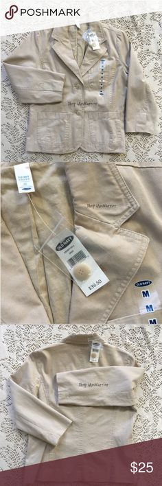 🆕NWT tan cotton twill button jacket Great little basic to wear over your favorite tee. New with tags, never worn, smoke free home. Please read updated about me listing prior to inquires. Old Navy Jackets & Coats