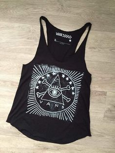 VANS NEW Women's Cute Aztec Eye Pyramid Black Summer Racerback Tank Top Shirt S #VANS #TankCami #Casual