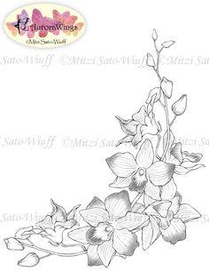 Digital Stamp - Instant Download - Orchids - digistamp - Elegantly Arranged Corner - Floral Line Art for Cards & Crafts by Mitzi Sato-Wiuff