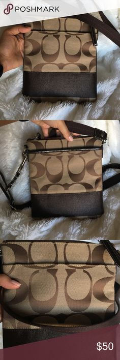 Beige/Brown COACH Messenger Crossbody Barely worn. In pristine condition. Absolutely no flaws. Ships within 1-2 days of purchase. Coach Bags Crossbody Bags
