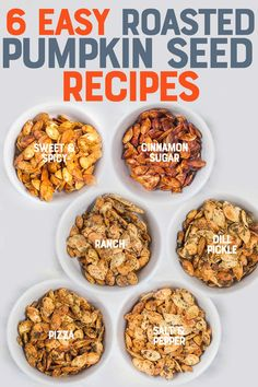 Flavored Roasted Pumpkin Seed Recipes Roasted pumpkin seeds are a crunchy and healthy snack you have to make! We have both sweet and savory pumpkin seed recipes to satisfy your tastebuds. Pumpkin Seed Recipes Baked, Flavored Pumpkin Seeds, Savory Pumpkin Seeds, Roast Pumpkin, Baked Pumpkin, Recipe For Pumpkin Seeds, Homemade Pumpkin Seeds, Pumkin Seeds, Baking Pumpkin Seeds
