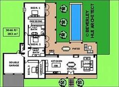 House layout plans l shape 36 super Ideas U Shaped House Plans, U Shaped Houses, Pool House Plans, Courtyard House Plans, Simple House Plans, House Layout Plans, Bungalow House Plans, Ranch House Plans, House Layouts