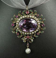 Georgian gold amethyst ruby emerald and pearl pendant, c. 1800