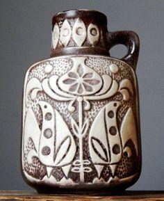 Vintage 1960 s BAY KERAMIK FOLK 97-20 Vase West German Pottery Fat Lava Era Craf
