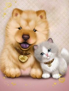 <3 Kätzchen & Hündchen <3 Cute Animals Images, Cute Images, Cute Pictures, Kittens And Puppies, Cats And Kittens, Cute Drawings, Animal Drawings, Cute Illustration, My Animal