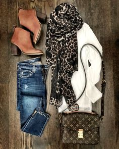 IG: @mrscasual   White top, leopard scarf, skinny jeans, brown booties, and Louis vuittton bag