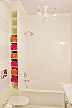 neat idea for towel storage in the bathroom. #home #decor