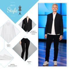 Ellen's Look of the Day: black blazer, white button up shirt, black pants, white sneakers