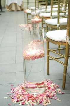 How would you decorate our church? :  wedding Cylinder Candle And Petals