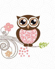 Owl print, etsy