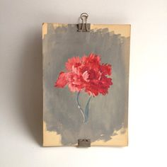 vintage painting of a red carnation, gouache on paper