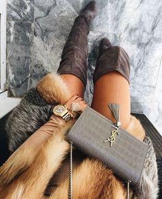 fur coat + OTK boots #YSL