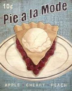 Vintage pie posters and signs for the kitchen or breakfast nook.