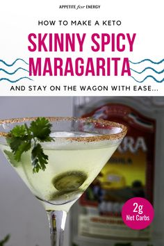 Cocktails are still on the menu when you're on a ketogenic diet or going sugar-free! This low-carb Skinny Spicy Margarita recipe is perfect for Cinco de Mayo celebrations or any summer party. Low-Carb Alcohol cheat sheet available. #margarita #CincoDeMayo #KetoRecipes