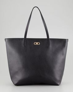 Gina Pebbled Leather Tote Bag, Black by Salvatore Ferragamo at Neiman Marcus.